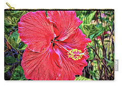 Hibiscus Flower Carry-all Pouch by Lewis Mann