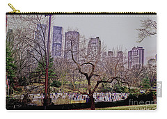 Ice Skaters On Wollman Rink Carry-all Pouch by Sandy Moulder