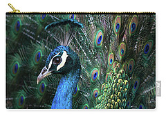 Indian Peacock With Tail Feathers Up Carry-all Pouch