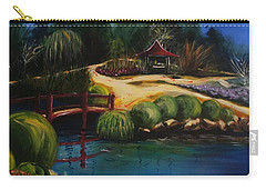 Carry-all Pouch featuring the painting Japanese Gardens - Original Sold by Therese Alcorn