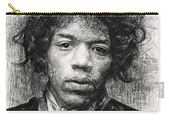 Carry-all Pouch featuring the drawing Jimi Hendrix by Taylan Apukovska