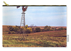Carry-all Pouch featuring the photograph Kansas Prairie Windmill by Anna Louise