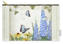 Le Petit Jardin 1 - Garden Floral W Butterflies, Dragonflies, Daisies And Delphinium Carry-all Pouch by Audrey Jeanne Roberts