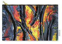 Carry-all Pouch featuring the mixed media Leather And Flames by Angela Stout