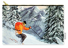Carry-all Pouch featuring the painting Let's Go Skiing by Bill Holkham