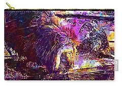 Carry-all Pouch featuring the digital art Lion Cat Zoo Male Big Cat Africa  by PixBreak Art