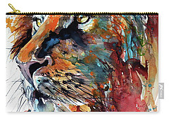 Carry-all Pouch featuring the painting Lion by Kovacs Anna Brigitta