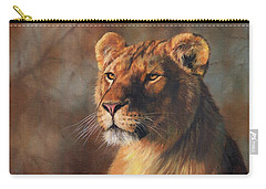 Lioness Portrait Carry-all Pouch by David Stribbling