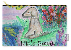 Carry-all Pouch featuring the painting Little Sweet Pea With Title by Diane Pape