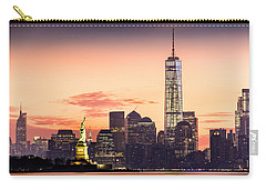 Lower Manhattan And The Statue Of Liberty At Sunrise Carry-all Pouch by Mihai Andritoiu