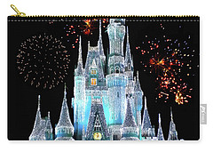 Magic Kingdom Castle In Frosty Light Blue With Fireworks 06 Mp Carry-all Pouch