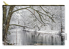 Carry-all Pouch featuring the photograph March Snow Along Cranberry River by Thomas R Fletcher