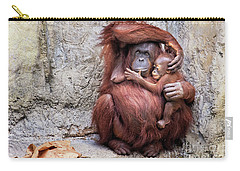 Mom And Baby Orangutan Carry-all Pouch by Stephanie Hayes
