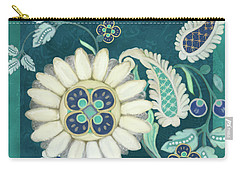 Carry-all Pouch featuring the painting Moroccan Paisley Peacock Blue 1 by Audrey Jeanne Roberts