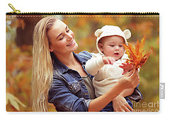 Mother With Son Enjoying Autumn Carry-all Pouch