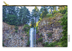 Carry-all Pouch featuring the photograph Multnomah Falls Cliff by Jonny D