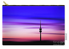 Carry-all Pouch featuring the photograph Munich - Olympiaturm At Sunset by Hannes Cmarits