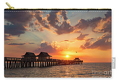 Carry-all Pouch featuring the photograph Naples Pier At Sunset by Brian Jannsen