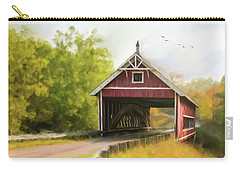 Carry-all Pouch featuring the photograph Netcher Road Covered Bridge by Mary Timman