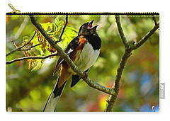 Towhee In Song Carry-all Pouch by Dianne Cowen