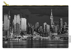 Carry-all Pouch featuring the photograph New York City Skyline Pride Bw by Susan Candelario