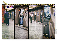 Carry-all Pouch featuring the photograph New York City Subway Stare by Lars Lentz