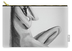 Nude Woman In High Heels Drawing Carry-all Pouch
