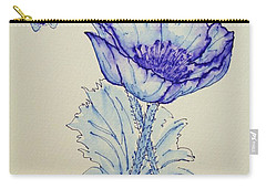 Carry-all Pouch featuring the drawing Oh Poppy by Marna Edwards Flavell