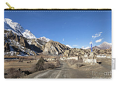 On The Annapurna Circuit Trekking Near Manang In Nepal Carry-all Pouch