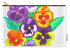 Pansies, Watercolour Painting Carry-all Pouch