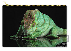 Parson Chameleon, Calumma Parsoni Orange Eye On Black Carry-all Pouch by Sergey Taran
