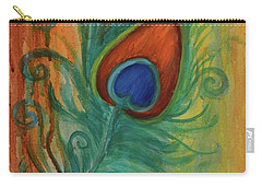 Peacock Feather Carry-all Pouch by Agata Lindquist