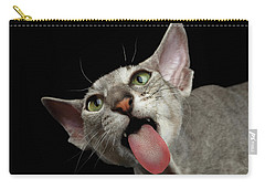 Peterbald Sphynx Cat On Black Background Carry-all Pouch