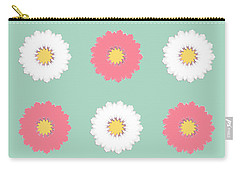 Carry-all Pouch featuring the digital art Pink And White by Elizabeth Lock