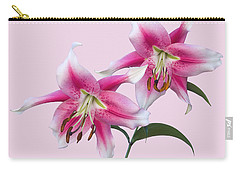 Pink And White Ot Lilies Carry-all Pouch by Jane McIlroy