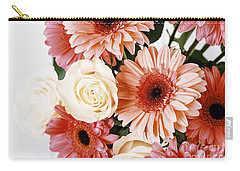 Pink Gerbera Daisy Flowers And White Roses Bouquet Carry-all Pouch by Radu Bercan