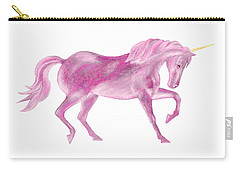 Carry-all Pouch featuring the mixed media Pink Unicorn by Elizabeth Lock