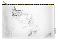 Carry-all Pouch featuring the mixed media Playful Cat Iv by Elizabeth Lock