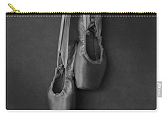 Carry-all Pouch featuring the photograph Pointe Shoes Bw by Laura Fasulo