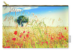Carry-all Pouch featuring the photograph Poppies With Tree In The Distance by Silvia Ganora