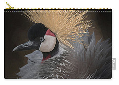 Carry-all Pouch featuring the digital art Portrait Of A Crowned Crane by Ernie Echols