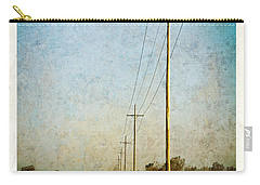 Carry-all Pouch featuring the photograph Power Lines At Sunrise by Lars Lentz