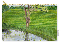 Carry-all Pouch featuring the painting Rain Tree On The Way To Ubud Bali Indonesia by Melly Terpening