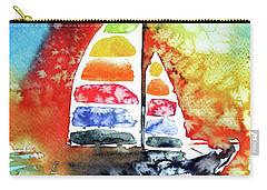 Rainbow Sailboat At Sunset Carry-all Pouch by Kovacs Anna Brigitta