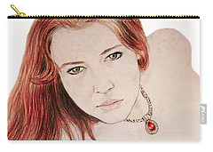 Carry-all Pouch featuring the drawing Red Hair And Freckled Beauty by Jim Fitzpatrick