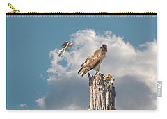 Red-tailed Hawk And Mockingbird Dispute Carry-all Pouch