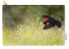 Red Winged Blackbird In Flight Carry-all Pouch
