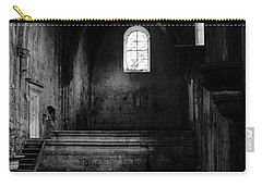 Carry-all Pouch featuring the photograph Rioseco Abandoned Abbey Nave Bw by RicardMN Photography