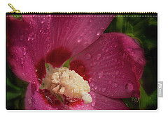 Rose Of Sharon Hibiscus With Rain Drops Carry-all Pouch by Garry McMichael