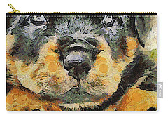 Rottweiler Puppy Portrait Carry-all Pouch by Tracey Harrington-Simpson